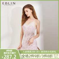 Nightdress EBLIN Pink 25 eclo911c11 blue 50 S M L sexy Plants and flowers V-neck Polyester (polyester) More than 95% ECFLA24L11 Summer 2020 Polyester 100% Same model in shopping mall (sold online and offline)