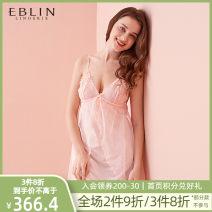 Nightdress EBLIN Peach Pink Black S M L camisole spring V-neck Spring of 2019 Polyester 100% Same model in shopping mall (sold online and offline) Polyamide fiber (nylon) 77.7% polyurethane elastic fiber (spandex) 22.3%