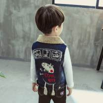 Vest neutral The recommended height is about 85CM, 95cm, 105cm, 115cm, 125cm, 135cm and 145cm respectively Other / other winter Plush No model Single breasted Denim Cartoon animation Cotton 93.5% other 6.5% other