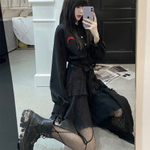 shirt black S,M,L Spring 2021 other 81% (inclusive) - 90% (inclusive) Long sleeves street Short style (40cm < length ≤ 50cm) bishop sleeve 18-24 years old High waist type Lace, embroidery Europe and America