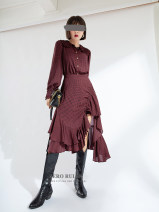skirt Spring 2021 XS,S,M,L,XL red-checkered pattern Mid length dress street High waist Irregular 25-29 years old More than 95% Zero rules polyester fiber Asymmetry Europe and America