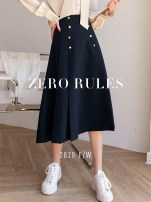 skirt Spring 2021 XS,S,M,L,XL Picture color Mid length dress street High waist Solid color 25-29 years old Zero rules