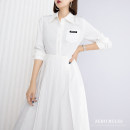 Dress Spring 2021 white XS,S,M,L,XL Mid length dress singleton  Long sleeves street High waist 25-29 years old Zero rules Europe and America