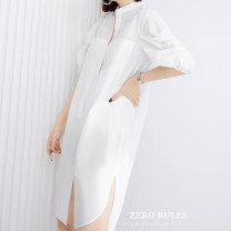 Dress Summer 2021 white XS,S,M,L,XL street High waist Solid color 25-29 years old Zero rules