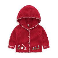 Sweater / sweater 73cm,80cm,90cm,100cm,110cm cotton female gules Fort bey Europe and America No model Single breasted routine No detachable cap Ordinary wool other Cotton 95% other 5% Red knitted coat and hood Class A 3 months, 6 months, 12 months, 9 months, 18 months, 2 years old