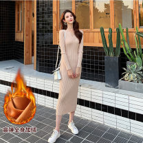 Dress Winter 2020 Black without down, green without down, caramel without down, apricot with down, black with down, green with down, caramel with down, apricot without down S,M,L,XL,2XL longuette singleton  Long sleeves commute V-neck High waist Solid color Socket Pencil skirt other Others F892 other