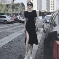 Dress Summer of 2019 black S,M,L,XL longuette singleton  Short sleeve commute Crew neck Elastic waist Solid color Socket Irregular skirt routine Others 18-24 years old Type A Other / other Korean version 51% (inclusive) - 70% (inclusive) knitting other
