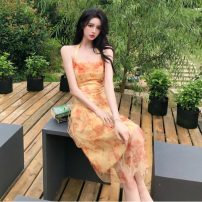 Dress Summer 2020 Oil painting skirt S,M,L Mid length dress singleton  Sleeveless Sweet One word collar High waist Decor zipper Big swing routine Hanging neck style 18-24 years old Type A Backless, lace up, bandage, print 51% (inclusive) - 70% (inclusive) Chiffon other Bohemia