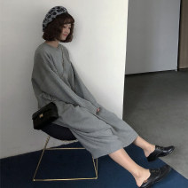 Dress Winter of 2018 Grey, black, apricot Average size longuette singleton  Long sleeves commute Crew neck Loose waist Solid color Socket One pace skirt routine 18-24 years old Type H Korean version Splice, threaded, asymmetric 51% (inclusive) - 70% (inclusive) knitting acrylic fibres