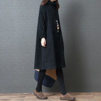 Dress Autumn of 2019 Black, brown M [95-120 Jin], l [120-140 Jin], XL [140-160 Jin], 2XL [160-190 Jin] Mid length dress singleton  Long sleeves commute High collar Loose waist Solid color Socket A-line skirt routine Others Type A Korean version pocket 51% (inclusive) - 70% (inclusive) corduroy other