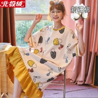 Nightdress Beijirog / Arctic velvet Sweet Short sleeve Leisure home Middle-skirt summer Solid color youth Crew neck cotton printing More than 95% pure cotton 200g and below