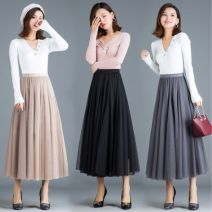 skirt Summer of 2019 80-140 Jin can be worn Brown, apricot, light gray, dark gray, pink, black, meat red longuette Versatile High waist Fairy Dress Type A 18-24 years old Other / other