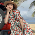 Dress Summer 2021 Picture color Average size Short skirt singleton  Short sleeve commute Crew neck High waist Broken flowers A-line skirt puff sleeve 18-24 years old Type A Retro Four point eight