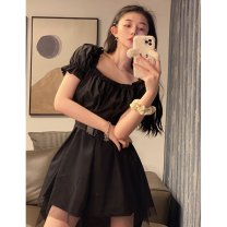 Dress Summer 2021 Picture color Average size Mid length dress singleton  Short sleeve commute square neck High waist Solid color Socket Irregular skirt puff sleeve 18-24 years old Type A Korean version Splicing Four point one 81% (inclusive) - 90% (inclusive) cotton