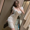 Dress Summer 2021 Rose, white, blue Average size Middle-skirt singleton  Short sleeve commute square neck High waist Solid color Socket One pace skirt routine 18-24 years old Type A Korean version Four point one