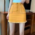skirt Summer 2021 S,M,L Ginger  Short skirt commute High waist skirt Solid color Type A 18-24 years old four point one zero Button, zipper Korean version