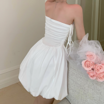 Dress Summer 2021 White, black Average size Short skirt singleton  Sleeveless commute High waist Solid color A-line skirt Breast wrapping 18-24 years old Type A Korean version Pleated, open back four point one one