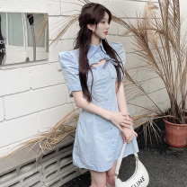 Dress Summer 2021 White, blue S,M,L Short skirt singleton  Short sleeve commute Polo collar High waist Solid color Single breasted A-line skirt routine 18-24 years old Type A Korean version Bows, hollows, buttons four point one three