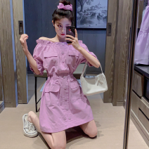 Dress Summer 2021 White, violet Average size Short skirt singleton  Short sleeve commute One word collar High waist Solid color A-line skirt puff sleeve 18-24 years old Type A Korean version Button Four point five 31% (inclusive) - 50% (inclusive)