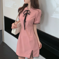 Dress Summer 2021 Pink S,M,L Short skirt singleton  Short sleeve commute stand collar High waist other A-line skirt routine 18-24 years old Type A Korean version Lace Four point one 30% and below