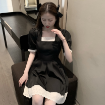 Dress Summer 2021 black S,M,L Short skirt singleton  Short sleeve commute square neck High waist Socket A-line skirt pagoda sleeve 18-24 years old Type A Korean version Stitching, lace four point one five