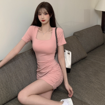 Dress Summer 2021 Pink, black Average size Short skirt singleton  Short sleeve commute square neck High waist Solid color Socket One pace skirt routine 18-24 years old Type A Korean version Cut out, open back, lace up four point one three