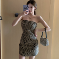Dress Summer 2021 Picture color Average size Short skirt singleton  Sleeveless commute High waist Leopard Print One pace skirt Breast wrapping 18-24 years old Type A Korean version backless Four point six