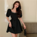Dress Summer 2021 White, black M, L Short skirt singleton  Short sleeve commute square neck High waist Solid color Socket A-line skirt puff sleeve 18-24 years old Type A Korean version Hollowed out, inlaid with diamond and nailed beads three point three zero