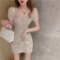 Dress Summer 2021 Picture color S, M Short skirt singleton  Short sleeve commute High waist Solid color Socket A-line skirt 18-24 years old Type A Korean version three point three one Lace