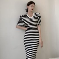 Dress Summer 2021 Black, black and white stripes Average size Mid length dress singleton  Short sleeve commute V-neck High waist stripe One pace skirt puff sleeve 18-24 years old Type A Korean version three point two zero