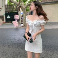Dress Summer 2021 White coat, white dress S, M Short skirt singleton  Short sleeve commute One word collar High waist Solid color A-line skirt routine 18-24 years old Type A Korean version bow three point two one