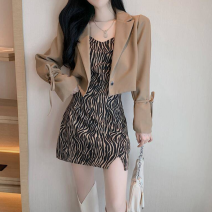 Fashion suit Spring 2021 M, L Black suit, khaki suit, white sling, khaki sling 18-25 years old eight point two seven