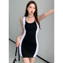 Dress Summer 2021 Black and white stitching Average size Short skirt singleton  Sleeveless commute High waist other Socket One pace skirt 18-24 years old Type A Korean version three point three one 30% and below
