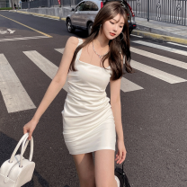 Dress Summer 2021 white S,M,L Short skirt singleton  Sleeveless commute High waist Solid color One pace skirt 18-24 years old Type A Korean version Open back, fold Four point eight 31% (inclusive) - 50% (inclusive) polyester fiber