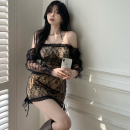 Dress Summer 2021 Two pieces of black fake S, M Short skirt Fake two pieces Long sleeves commute High waist Socket A-line skirt Hanging neck style 18-24 years old Type A Korean version Stitching, lace Three point five 31% (inclusive) - 50% (inclusive)