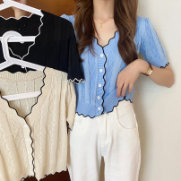 T-shirt Summer 2021 Short sleeve V-neck Self cultivation have cash less than that is registered in the accounts routine other commute 31% (inclusive) - 50% (inclusive) 18-24 years old Korean version Color matching 4.29 Button Apricot, blue, black One size fits all