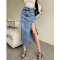 skirt Summer 2021 S,M,L,XL blue Mid length dress commute High waist Denim skirt Solid color Type A 18-24 years old Four point eight Button, zipper Retro