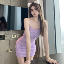 Dress Summer 2021 violet S, M Short skirt singleton  Sleeveless commute High waist Solid color Socket One pace skirt camisole 18-24 years old Type A Korean version Bow, fold three point three zero 71% (inclusive) - 80% (inclusive)