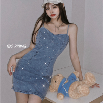 Dress Summer 2021 blue S,M,L Short skirt singleton  Sleeveless commute High waist Solid color Socket A-line skirt camisole 18-24 years old Type A Korean version three point two five