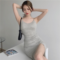Dress Summer 2021 Gray, black Average size Short skirt singleton  Sleeveless commute High waist Solid color Socket A-line skirt camisole 18-24 years old Type A Korean version chain four point one five