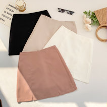 skirt Spring 2021 S,M,L Apricot, white, black, pink Short skirt Versatile High waist skirt Solid color Type A 18-24 years old Two point seven