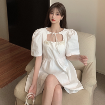Dress Summer 2021 White, black S, M Short skirt singleton  Short sleeve commute square neck High waist Solid color Socket A-line skirt puff sleeve 18-24 years old Type A Korean version Cut out, lace up three point three one