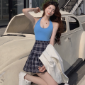 Fashion suit Summer 2021 S. M, l, average size Blue vest, pleated skirt 18-25 years old four point one five