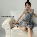 Dress Summer 2021 Black and white S, M Short skirt singleton  Sleeveless commute High waist lattice A-line skirt camisole 18-24 years old Type A Korean version backless Four point six