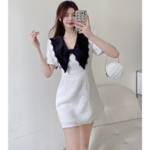 Dress Summer 2021 white S, M Short skirt singleton  Short sleeve commute Doll Collar High waist other A-line skirt puff sleeve 18-24 years old Type A Korean version Bowknot, stitching, lace Four point seven 31% (inclusive) - 50% (inclusive)
