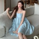 Dress Summer 2021 Blue and purple flowers, swan black S, M Short skirt singleton  Sleeveless commute One word collar High waist Solid color A-line skirt camisole 18-24 years old Type A Korean version seven point one four More than 95%