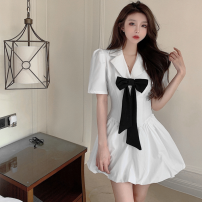 Dress Summer 2021 White, black S,M,L Short skirt singleton  Short sleeve commute tailored collar High waist other A-line skirt puff sleeve 18-24 years old Type A Korean version Bow, button Four point eight 31% (inclusive) - 50% (inclusive) other