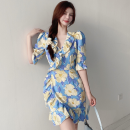 Dress Summer 2021 Picture color S,M,L Short skirt singleton  elbow sleeve commute V-neck High waist Broken flowers A-line skirt routine 18-24 years old Type A Korean version Lotus leaf edge Four point seven 51% (inclusive) - 70% (inclusive)