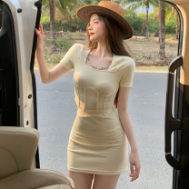 Fashion suit Summer 2021 S, M Black T-shirt, yellow T-shirt, black skirt, yellow skirt 18-25 years old Four point one 96% and above cotton