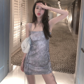 Dress Summer 2021 Picture color S, M Short skirt singleton  Sleeveless commute One word collar High waist other One pace skirt camisole 18-24 years old Type H Retro Open back, tie dye Four point eight 31% (inclusive) - 50% (inclusive)